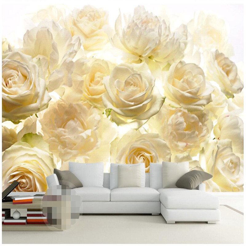 Online Shop beibehang Wall panel 3d vector realistic white rose ...