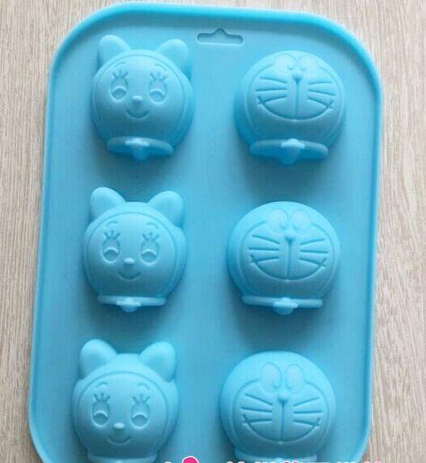 Wholesale/retail,free shipping ,10 pcs 6 hole cartoon Doraemon cat silicone Cake Mold Jelly pudding mold