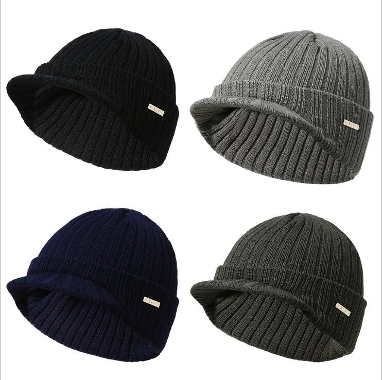 New Fashion Autumn Winter Warm Men Women Knitted Beanie with Brim Peaked Cap Boys Girls Casual Army Visor Hats Gifts