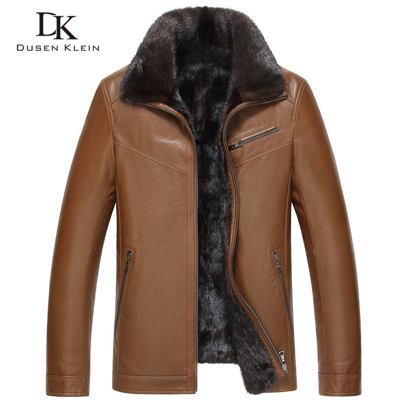 Fur Shearling Leather Jacket men Nature sheepskin Dusen Klein Luxury mink fur Liner short Winter leather jacket 61D1602