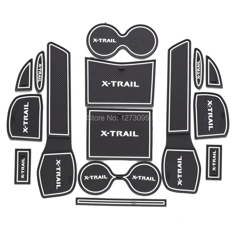 For 2014 2015 2016 2017 Nissan X-Trail X Trail T32 New Gate Slot Pad Non-slip Cup Mats Anti Slip Door Groove Mat Car Accessories