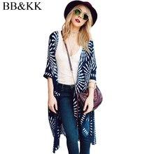 BB&KK Summer Style Women Half Short Sleeve Chiffon Geometric Printed Beach Casual