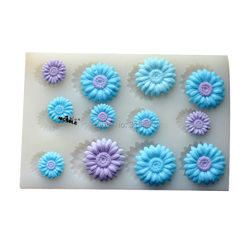 Nicole Brand Edible Flower Shaped Sugar Paste Cake Decoration Fondant  Silicone Mold Factory Outlet R1473(
