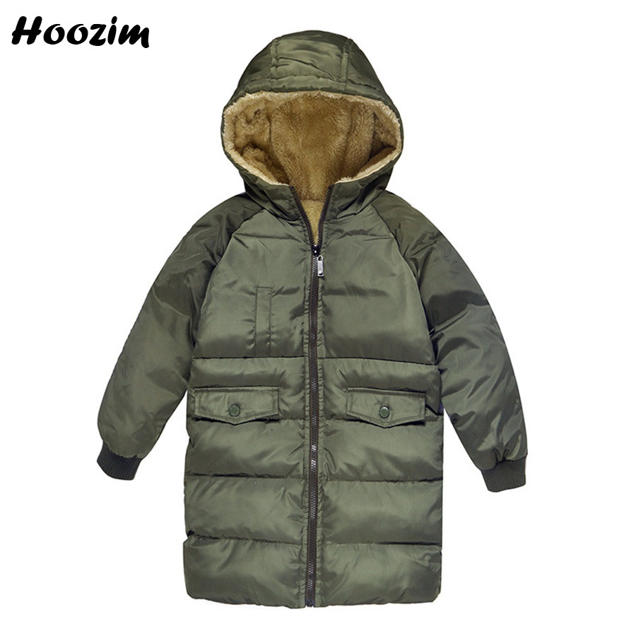 Boys Parka Black European Army Green Fleece Jackets For Boys Fashion Winter Black Warm Long Coat Kids Autumn Red Children Jacket fashion cotton jacket coat for men army green l