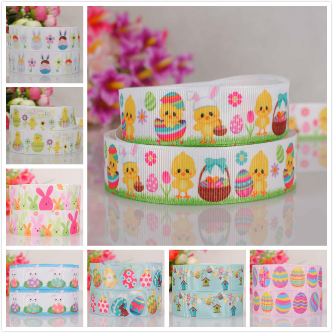 7/8  22 mm Easter days ribbon color eggs print grosgrain tape cartoon ribbon free shipping