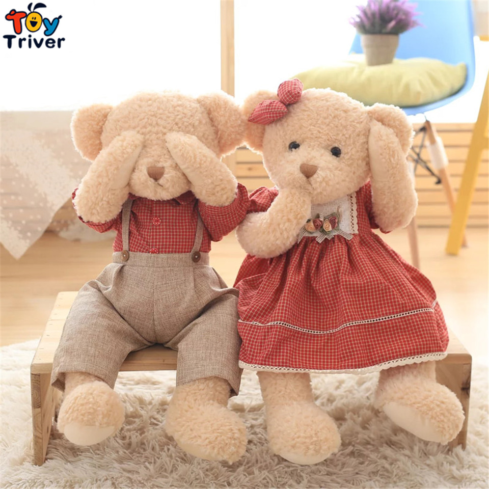 Quality Red Plaid Plush Couple Teddy Bear Toy Retro Pastoral Style Girlfriend Wedding Gift Shop Home Living Decoration Triver