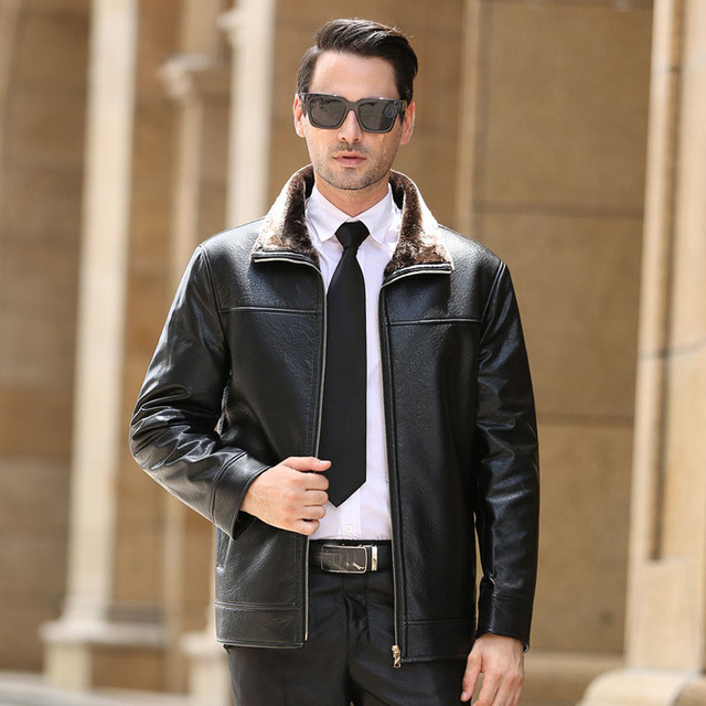 Mens Leather Jacket Fashion Brand Design Casual Motorcycle Jaquetas De Couro Winter Thick Cashmere Leather Coat M-4XL
