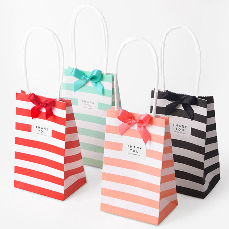 10Pcs Paper Stripe Gift Bag Packaging Candy Cookie Present Packing Favor Kraft Bonbonniere Wedding Party Goodie Bags For Sweets