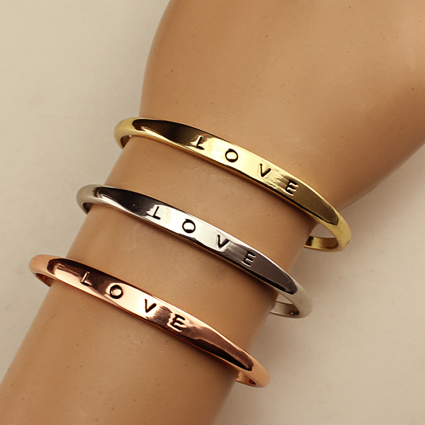 b506b614dc2 Free Shipping Hot Sale Zinc Alloy Silver Gold Rose Gold Bangle For Lovers  Top Quality Bracelets
