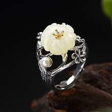 S925 Sterling Silver Thai Silver Nature White Jade Natural Pearl Ring Vintage Classical Plum Flower Leaf Women Open Rings цена 2017