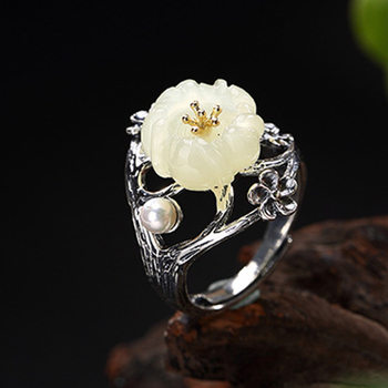 S925 Sterling Silver Thai Silver Nature White Jade Natural Pearl Ring Vintage Classical Plum Flower Leaf Women Open Rings