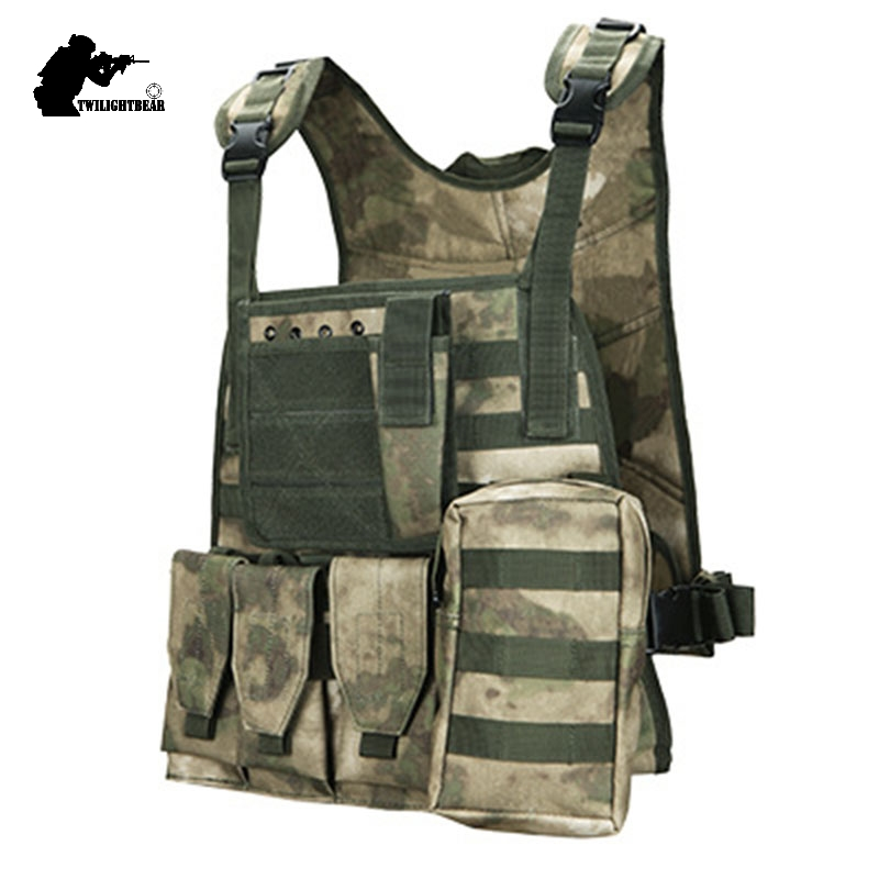 Military Camouflage Tactical Vest 600D Nylon Molle Combat Vest CS Paintball Protective Vest Police Equipment Gear BE5010