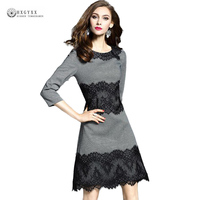 Women Dress Spring Round Neck Slim Patchwork Lace Dresses 2018 New Arrival Three Quarter Sleeves Female