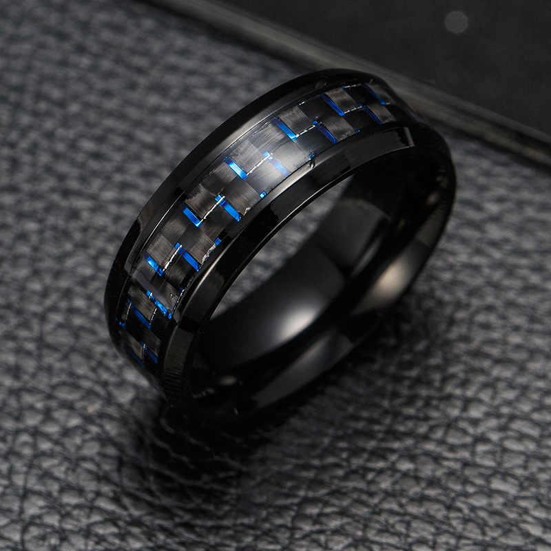 2019 tytanu stali czarne włókno węglowe pierścienie moda czerwony niebieski pierścień Anel Masculino mężczyzna fajna biżuteria