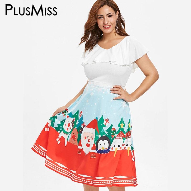 Aliexpress.com : Buy PlusMiss Plus Size 5XL L Christmas Graphic Party Dresses Women White Ruffle ...