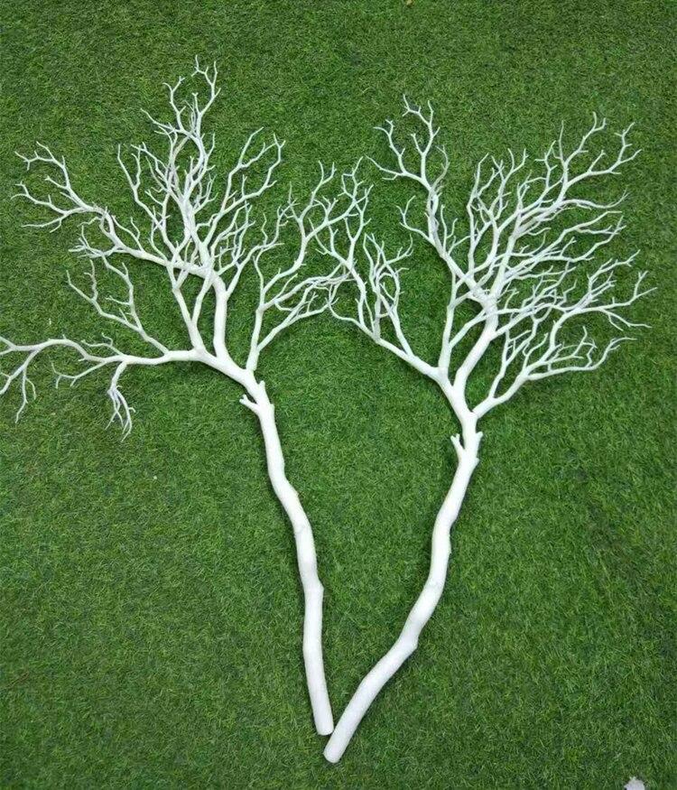 92 см пластиковая ветка кораллового дерева DIY свадебная дорога ведущий домашний садовый декор настенные цветы белые коралловые ветви растение Настенный декор - Цвет: Белый