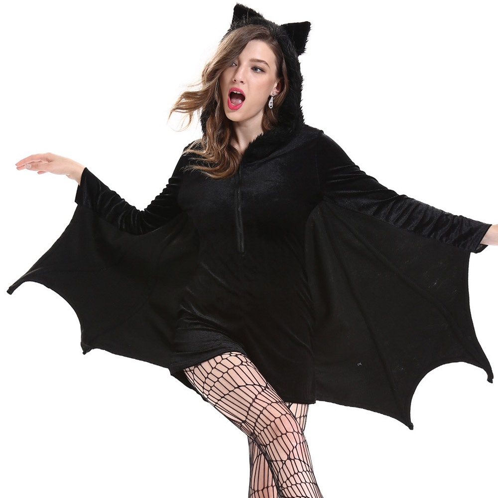 2019 Autumn Classic Halloween Gothic Adult Bat Costumes Funny Hollow Zipper Girls Winter Party ...