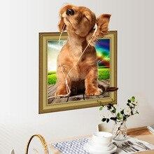 3D wallpaper fake window pet dog listening music wall sticker