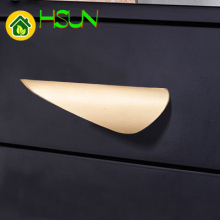 Modern Northern Europe Dumb Black Gold Wardrobe Cupboard Hardware Cabinet Door Handle Drawer Brass Color Small Pull