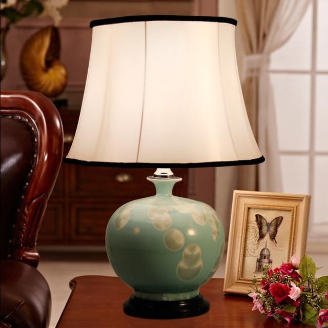 Tuda Free Shipping New Chinese Style Table Lamp Blue Glaze Ceramic