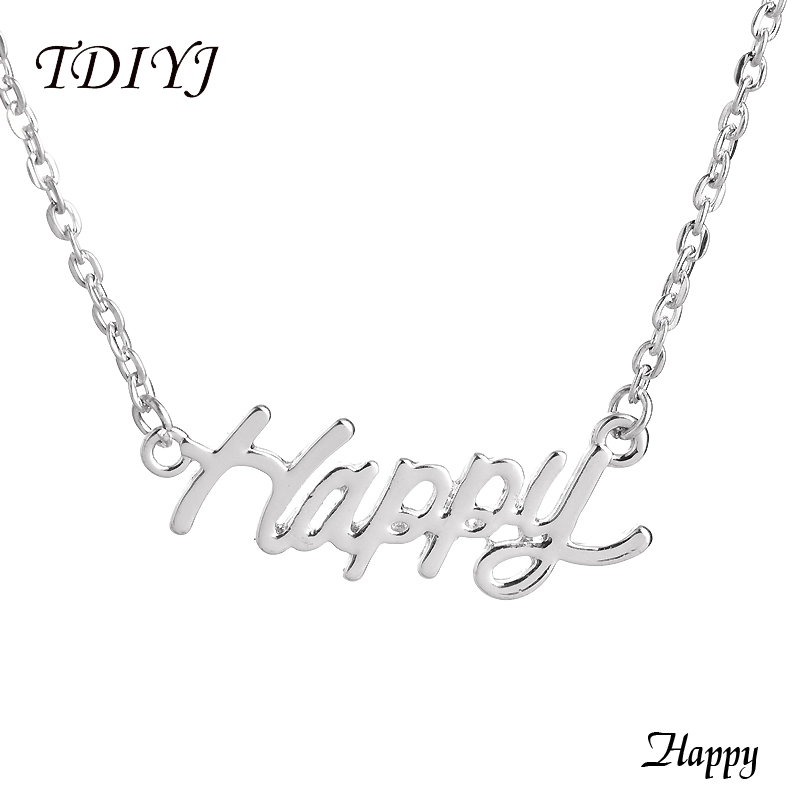 TDIYJ New Happy Word Necklace Silver/Gold 17inch Simple Word Choker Necklace Women Jewelry Accessories 5Pcs