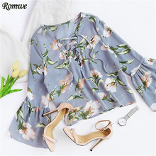 ROMWE Long Sleeve Blouses 2017 Boho Women Summer Tops Ladies Blue Florals V Neck Flare Sleeve Lace Up Casual Blouse
