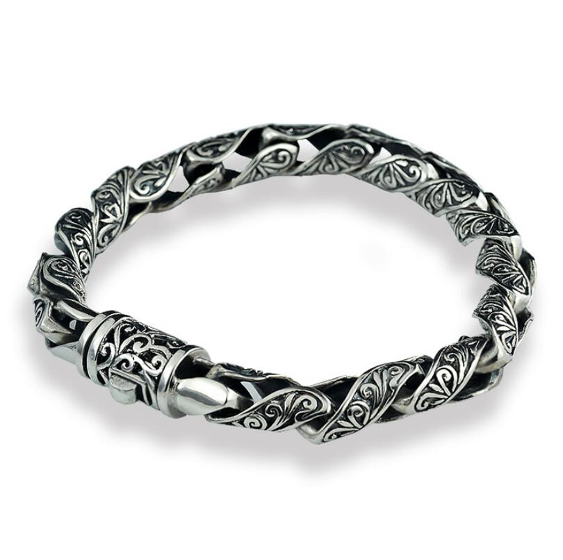 Pure Silver S925 Thai Silver Bracelet Tang Dynasty Flower Male Fashion Sterling Silver Vintage Jewelry (HY25A)