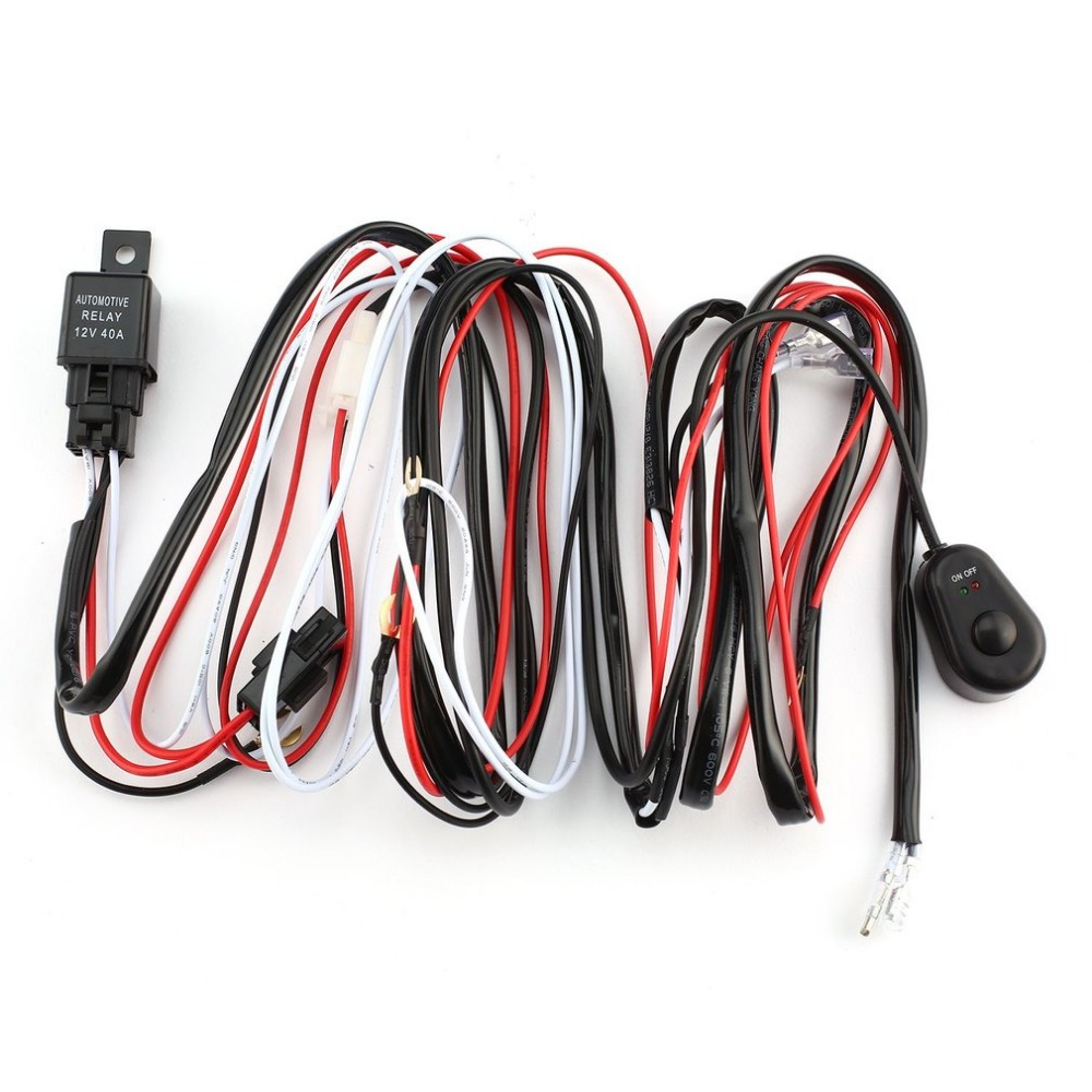 2018 One To Two Universal Led Light Bar Wiring Harness Rocker Switch Kits 12v 40a Relay Working