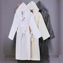 Hooded Bathrobe Women Cotton Thick Towel Fleece Robe Long-sleeve Soft Sleepwear nightgown Bathrobes Female Autumn Winter White