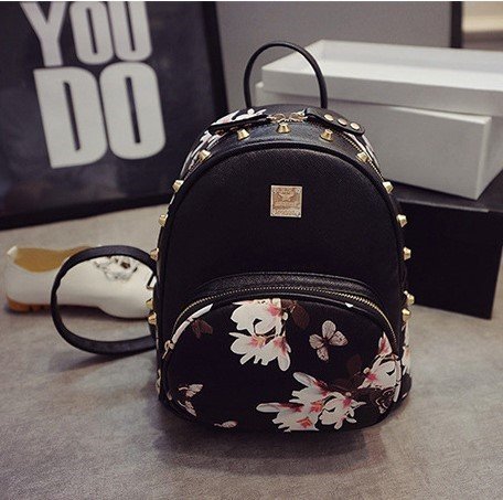 Woman Floral Printed Backpack Pu White Black Ladies Small Leather ...