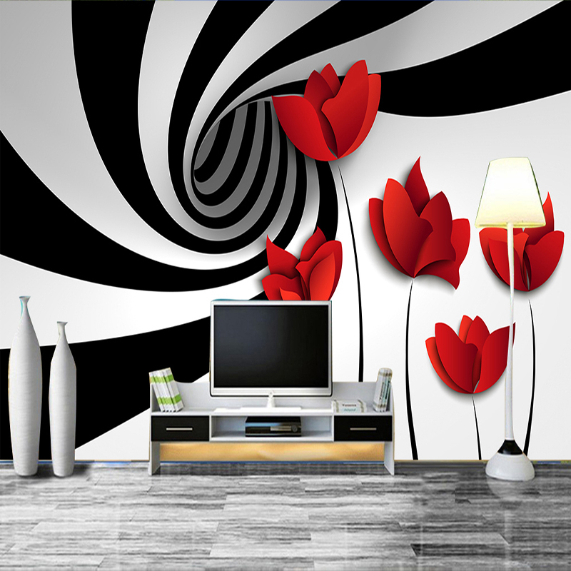 Custom mural wall paper black and white striped flowers for Black and white wall mural wallpaper