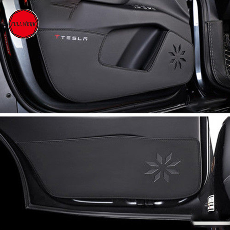 Durable Car Styling Door Protector Side Edge Cover Pad with Rear Armrest Cushion for Tesla Model X 2016-2017 Interior Accessory car interior accessories rubber auto luminous gate door pad anti slip cup holder mat cover cushion for 2009 2012 hyundai ix35