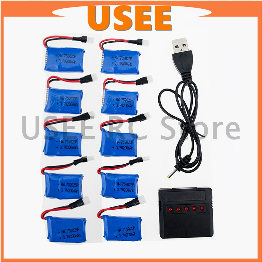 3.7V Lipo 200mAh 10pcs Li-po Battery With 5in1 USB Fast Charger Set For Syma X4 X11 X11C X13 Quadcopter RC Drone parts free ship rechargeable 3 7 v 250mah 25c li po battery for syma x4 x11 hubsan rc quadcopter drone wltoys v966 v988 free shipping sale