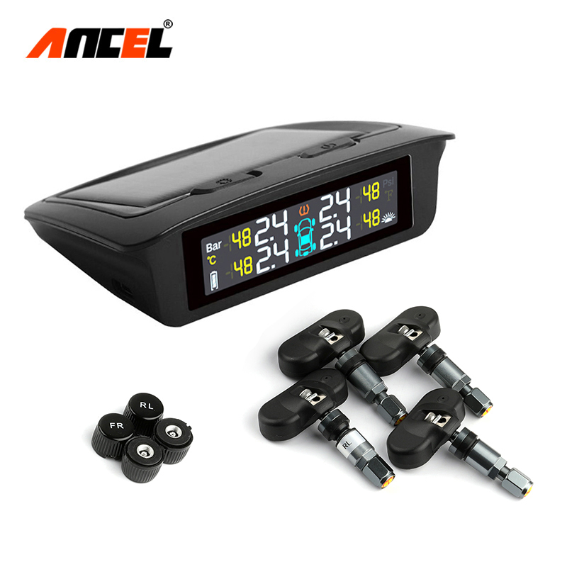 ANCEL TPMS Pressure-Monitoring-System Solar Sensor Tire Universal Wireless Power Real-Time-Displays