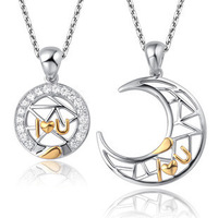 AAA 100 Silver 925 Necklace Moon Represents My Heart Couple Necklaces Necklaces Pendants Fine Jewelry FREE
