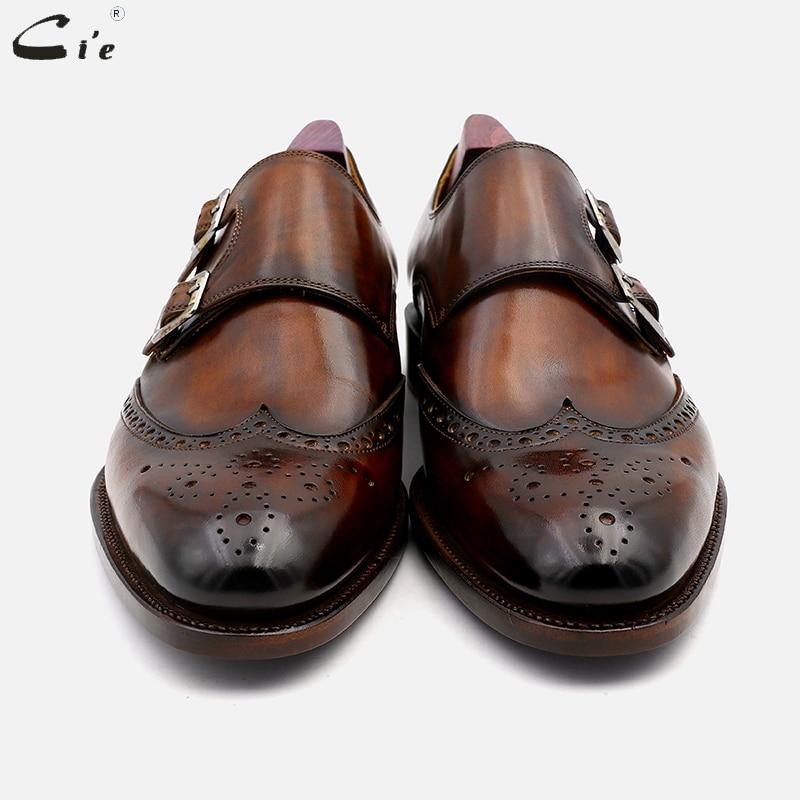 Image 3 - cie Round Toe Brogues Full Grain Genuine Calf Leather Formal Shoes Custom Mens Dress Monk Straps Office Shoe Men Elegant MS00Formal Shoes   -