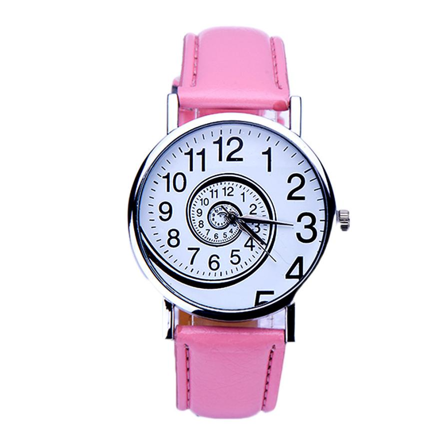 Jimshop 2017 susenstone Casual Swirl Pattern Leather Woman Quartz Wrist Watch 5 Colors Relogio Feminino Wholesale