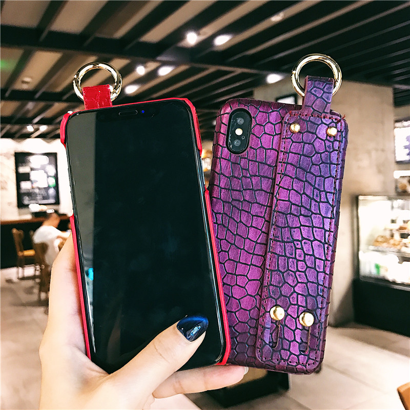 Mobile Phone - Plain With Wrist Strap Case For iPhone XS Max Case Leather Hard Back Cover Coque