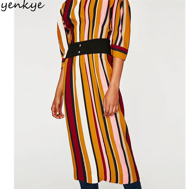 87d3589c0d8 Autumn Multicolor Striped Dress Women Half Sleeve O Neck With Belt Slim  Long Dress European Style vestido mujer robe longue