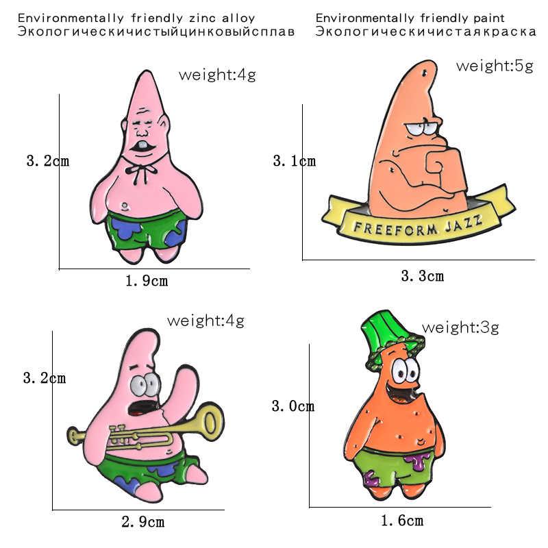 Gdhy SpongeBob Serial Anime Bros 16 Gaya Sponge-Bob Enamel Bintang Laut Anak Teritip Nanas Rumah untuk Anak-anak tombol Lencana
