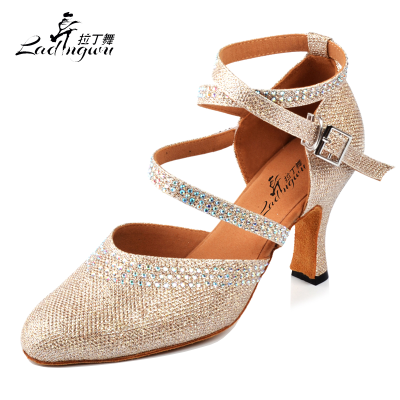 Ladingwu Golden/Silver New Flash Cloth Collocation Shine Rhinestone Ballroom Dance Competition Shoes Women Latin Dance Shoes