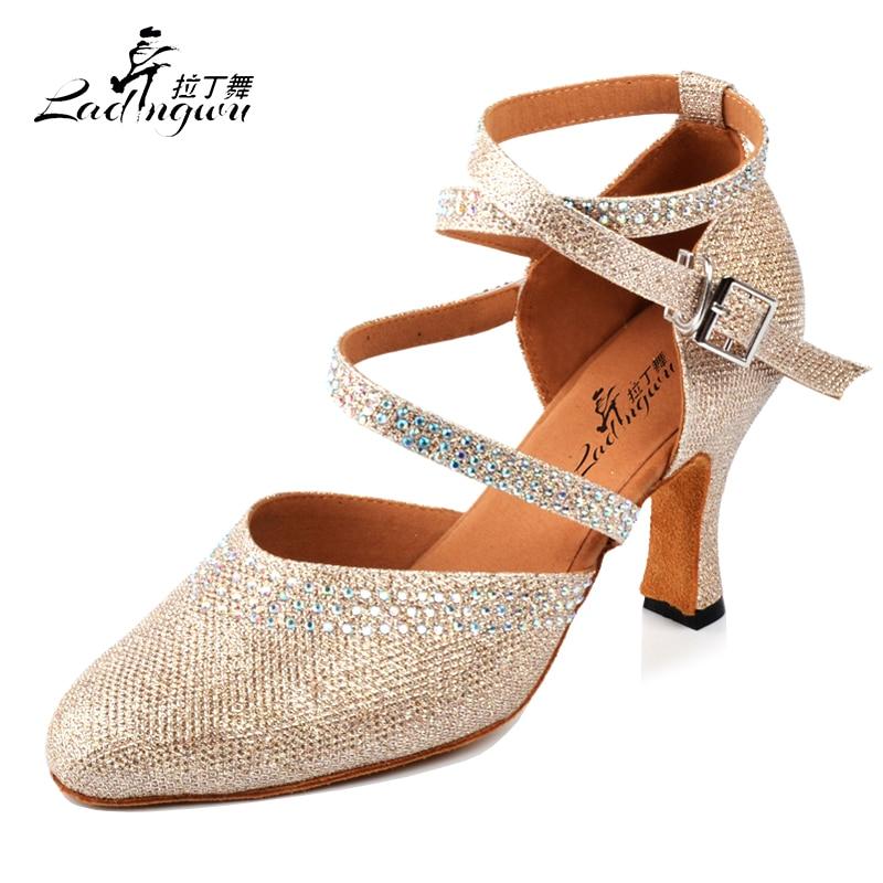 Ladingwu Golden/Silver New Flash Cloth Collocation Shine Rhinestone Ballroom Dance Competition Shoes Women Latin Dance Shoes