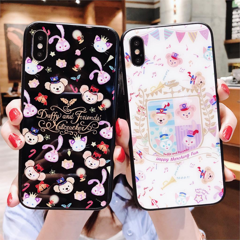 Cartoon Duffy Bear Pattern Phone Case For iPhone 6 6S 7 8 Plus X Xs Tempered Glass Cover for iphone XR XS Max Hard Cases iPhone