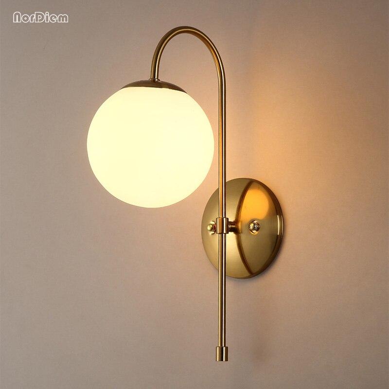 все цены на Modern Wall Lamps for living room bedroom corridor wall Sconce Luminaire LED molecular lamp Round glass ball wall light for Home онлайн