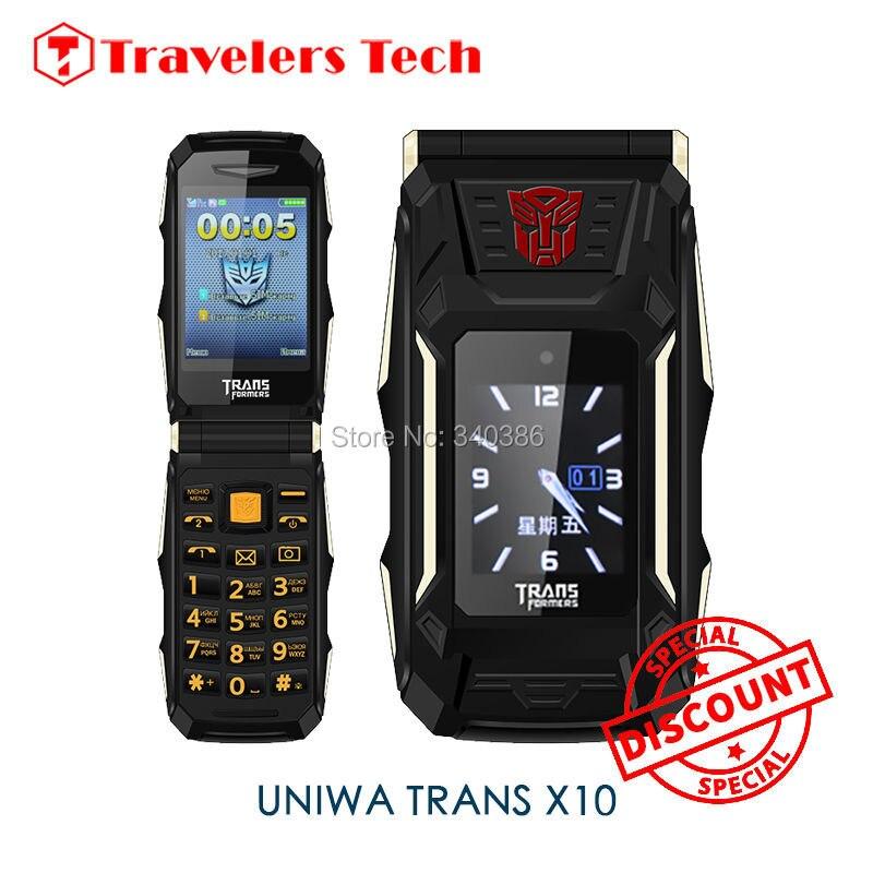 Цена за Новый 4800 мАч Большая Батарея Флип Телефон воспроизведение mp3 Power Bank Функция Раскладушка Trans X10 Двойной Экран Мобильного Телефона FM радио