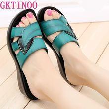 GKTINOO/женские тапочки; повседневные Шлепанцы из натуральной кожи; женская летняя обувь в стиле ретро; однотонные мокасины; вьетнамки на танкетке