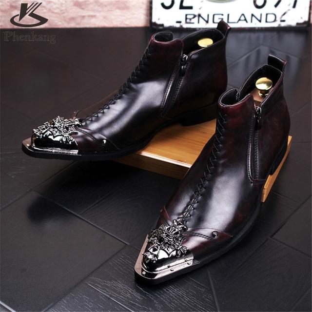 De cuero de vaca zapatos de los hombres tamaño EE.UU. 8.5 diseñador vintage botas Altas zapatos de los hombres punta estrecha rojo hecho a mano negro 2017 sping