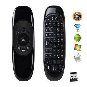 Image 4 - 2019 nowy C120 podświetlenie 7 kolory 2.4G bezprzewodowa mysz pilot mini klawiatura dla inteligentny telewizor z androidem Box Windows komputer