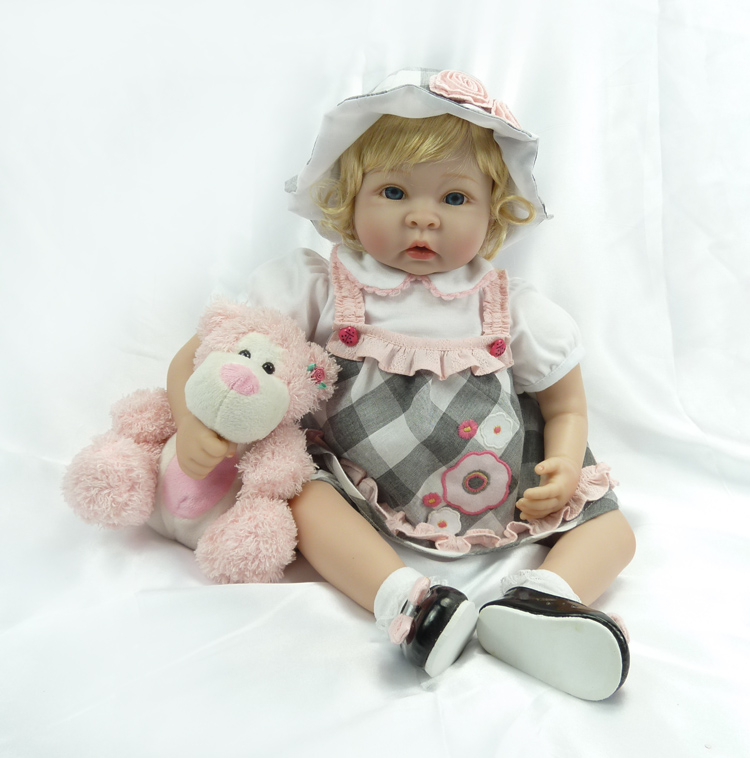 SanyDoll 22 inch 55 cm reborn Silicone dolls, lifelike doll reborn Lovely blonde girl : 91lifestyle