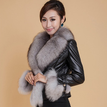 Women Clothes Leather Coat Female Short Slim Leather Fox Fur Coat Woman Fur Coat Thick Faux Fur Jacket Ladys Fashion Appearance thicken fur faux fur coat female korean version of the fashion slim in the long hooded raccoon fur fur coat womens fur jacket
